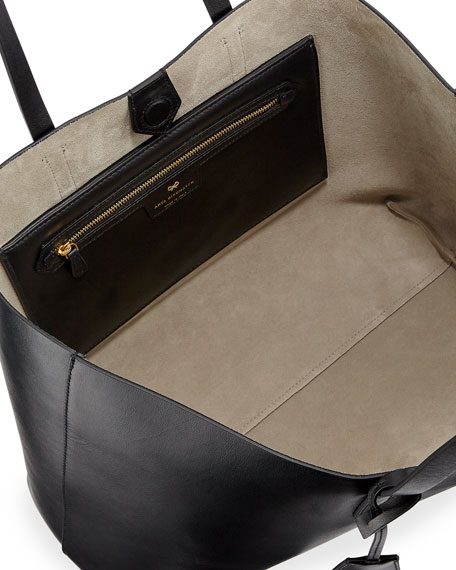 Ebury Eyes Leather Shopper Bag, Black