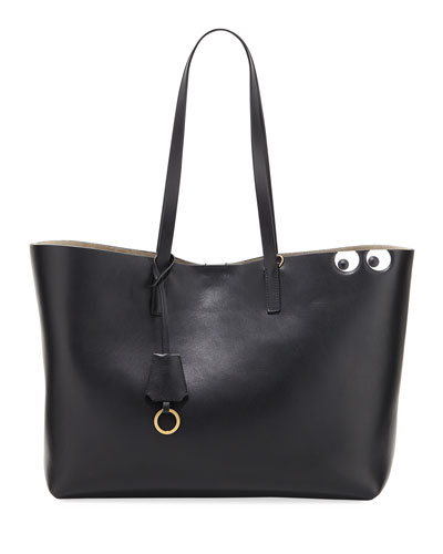 Ebury Eyes Leather Shopper Bag, Black