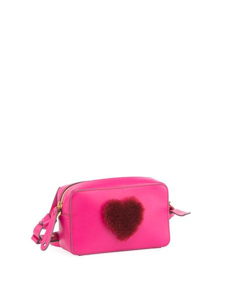 Heart Fur Mini Leather Crossbody Bag, Magenta