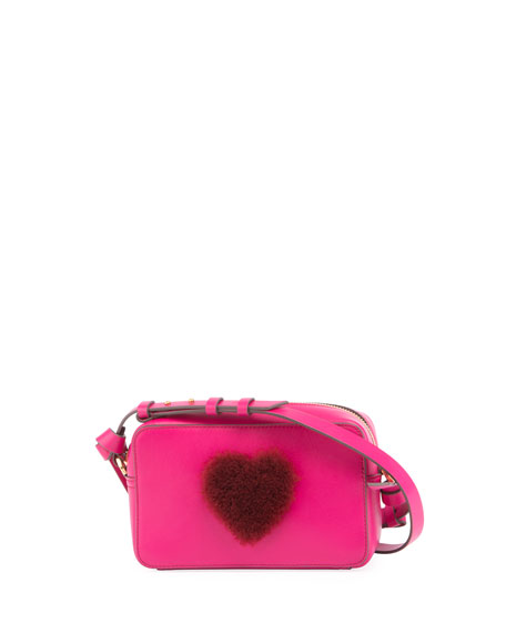 Anya Hindmarch Heart Fur Mini Leather Crossbody Bag,