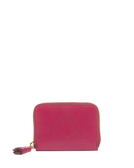 Anya Hindmarch Smiley Small Zip Wallet, Fuchsia