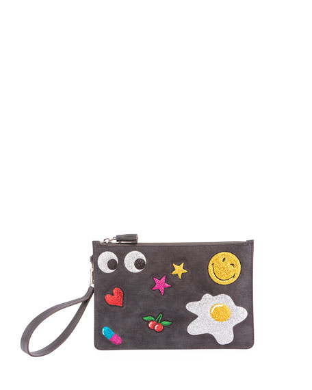 Anya Hindmarch Suede Glitter Sticker Zip Pouch Bag,