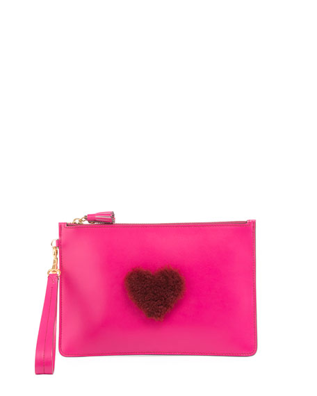 Anya Hindmarch Shearling Heart Zip Wristlet Pouch Bag,