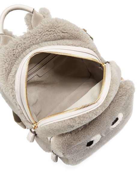 Mini Eyes Right Shearling Backpack