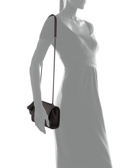 Fleming Matte Rubber Shoulder Bag, Black