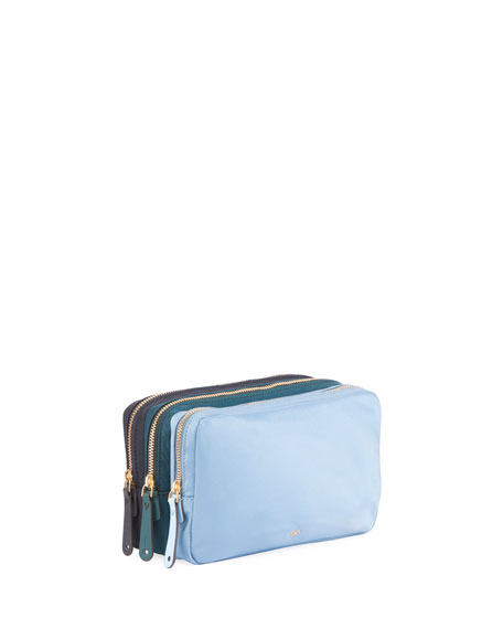 Triple Zip Makeup Pouch, Turquoise
