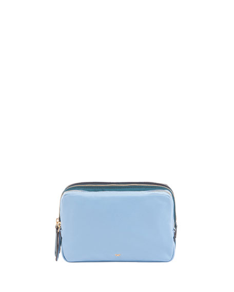 Anya Hindmarch Triple Zip Makeup Pouch, Turquoise