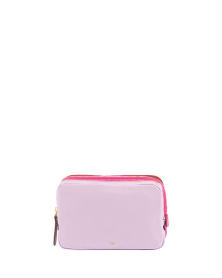 Triple Zip Makeup Pouch, Blush