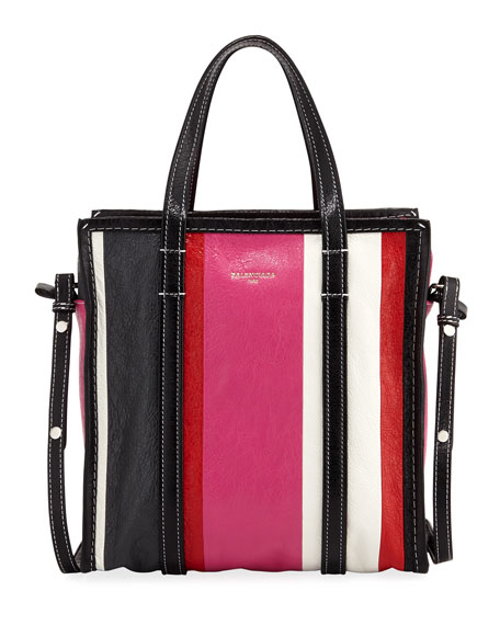 Balenciaga Bazar Shopper Small Striped Leather Tote Bag,