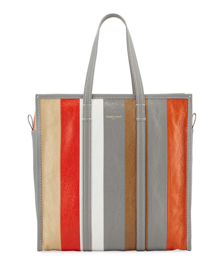 Balenciaga Bazar Shopper Medium Striped Leather Tote Bag