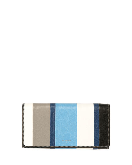Balenciaga Bazar Money Striped Wallet, Multi