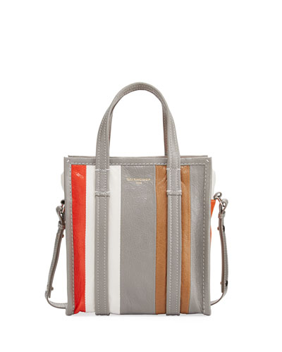 Bazar Extra Small Striped Leather Shopper Tote Bag