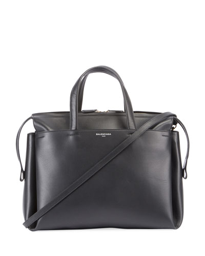 Portfolio Sac Leather Top Handle Bag, Black