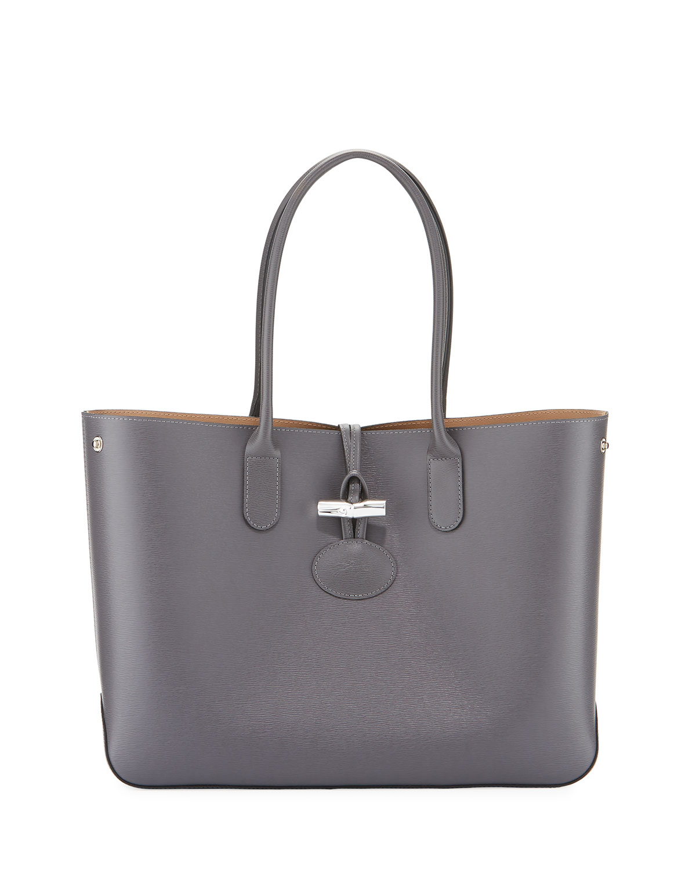 fadefead2d1 Longchamp Roseau Reversible Leather Shoulder Tote Bag | Neiman Marcus