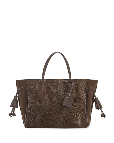 Longchamp Penelope Medium Python-Embossed Tote Bag