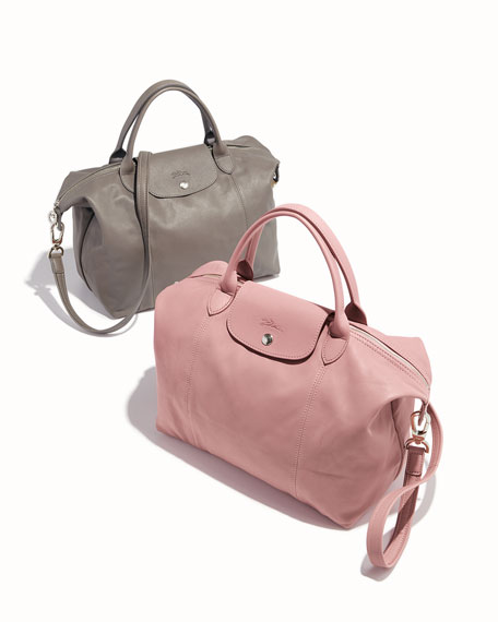 Le Pliage Cuir Medium Handbag