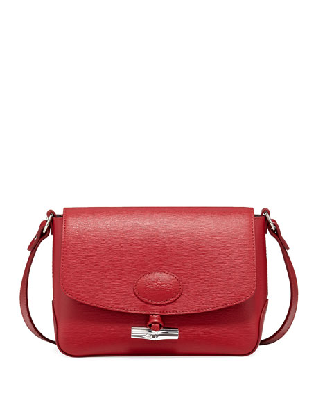 Longchamp Roseau Crocodile-Embossed Crossbody Bag
