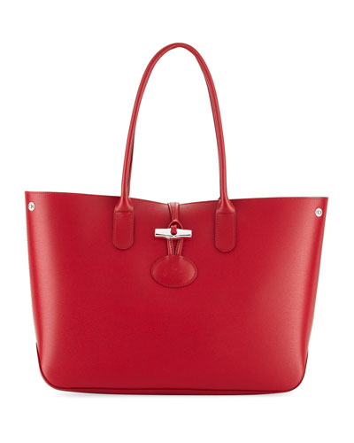 Roseau Reversible Leather Shoulder Tote Bag