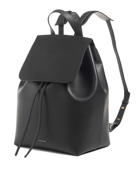 Leather Flap-Top Backpack, Black/Red