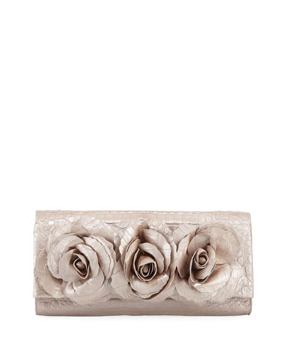 Rose Crocodile Flap Clutch Bag