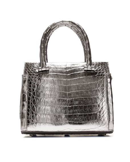 Small Metallic Double-Handle Tote Bag