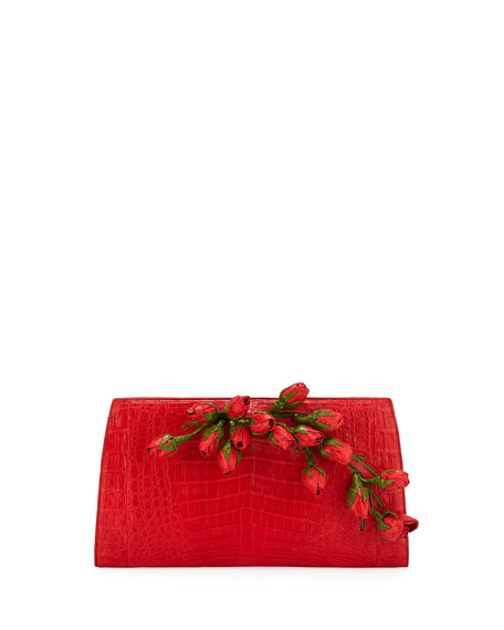 Nancy Gonzalez Rose Bud Slicer Crocodile Clutch Bag