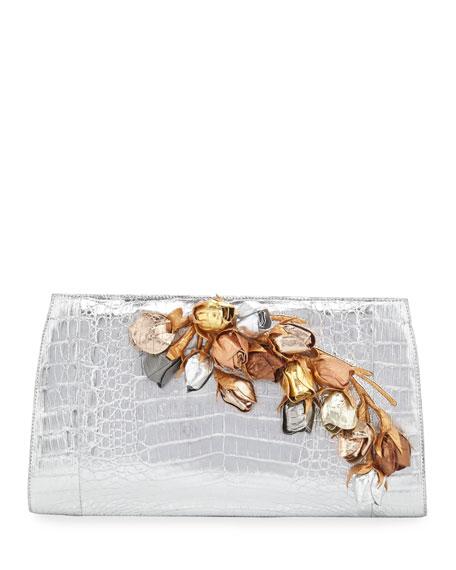 Nancy Gonzalez Rosebud Slicer Metallic Crocodile Clutch Bag