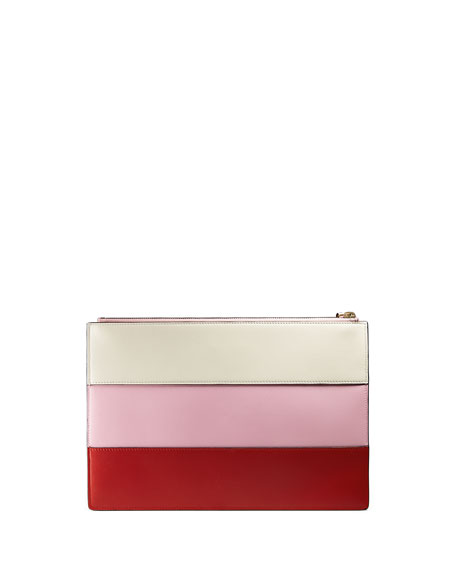 Colorblock Beaded-Bee Flat Zip Pouch Bag, Red/Pink