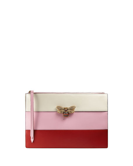 Gucci Colorblock Beaded-Bee Flat Zip Pouch Bag, Red/Pink