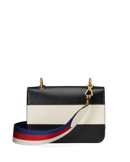 Linea Medium Striped Leather w/ Bee Shoulder Bag, Black/White