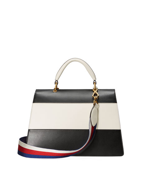 Linea Striped Bee Top Handle Bag, Black/White