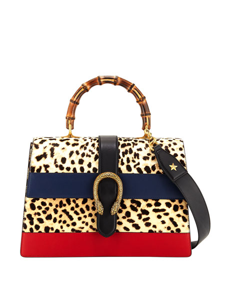 Gucci Dionysus Large Bamboo Top-Handle Bag in Leopard
