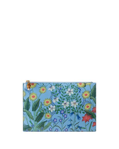 Gucci Flora Large Printed Flat Pouch Bag, Blue/Multi