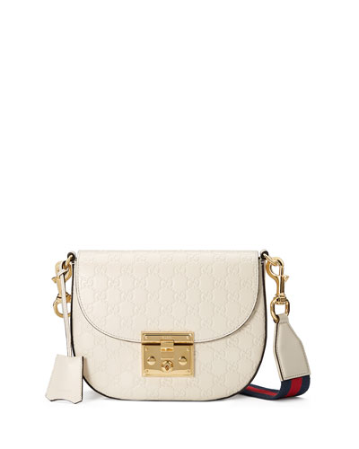 Padlock Medium Guccissima Curved Crossbody Bag