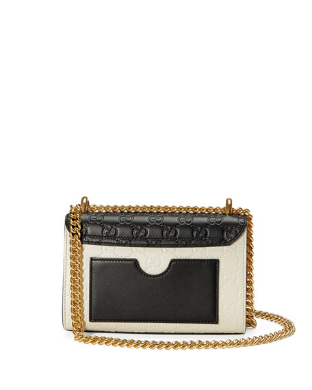 Padlock Mini Guccissima Colorblock Shoulder Bag, White/Black