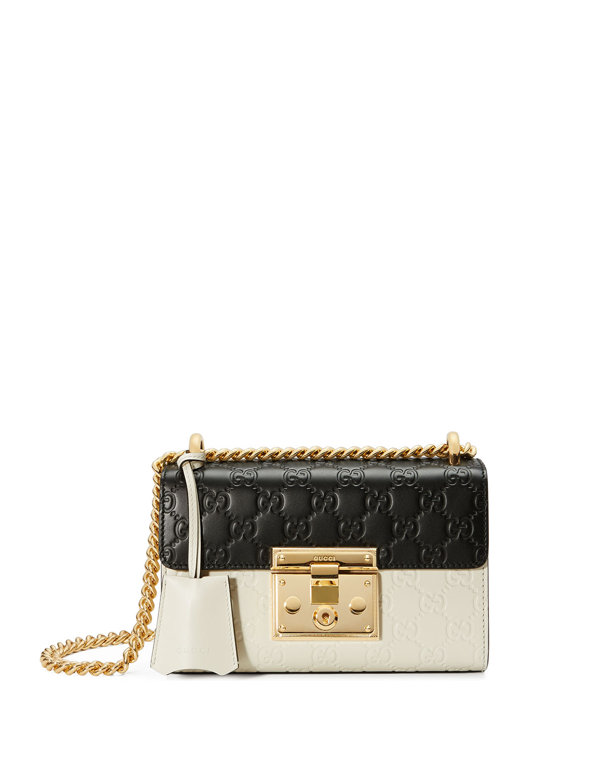 67fde4598 Gucci Padlock Mini Guccissima Colorblock Shoulder Bag, White/Black ...