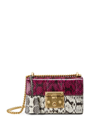 Padlock Mini Snakeskin Shoulder Bag, White/Black