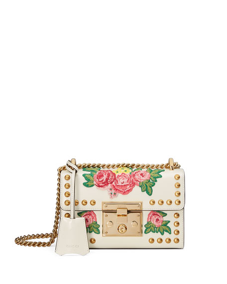 Gucci Padlock Mini Floral Patches Shoulder Bag