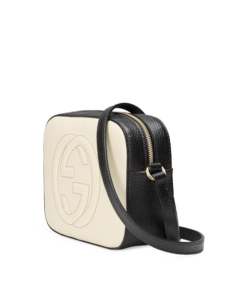 GG Zip-Top Small Camera Disco Bag, White/Black