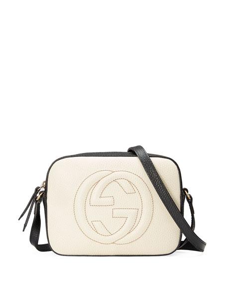 Gucci GG Zip-Top Small Camera Disco Bag, White/Black