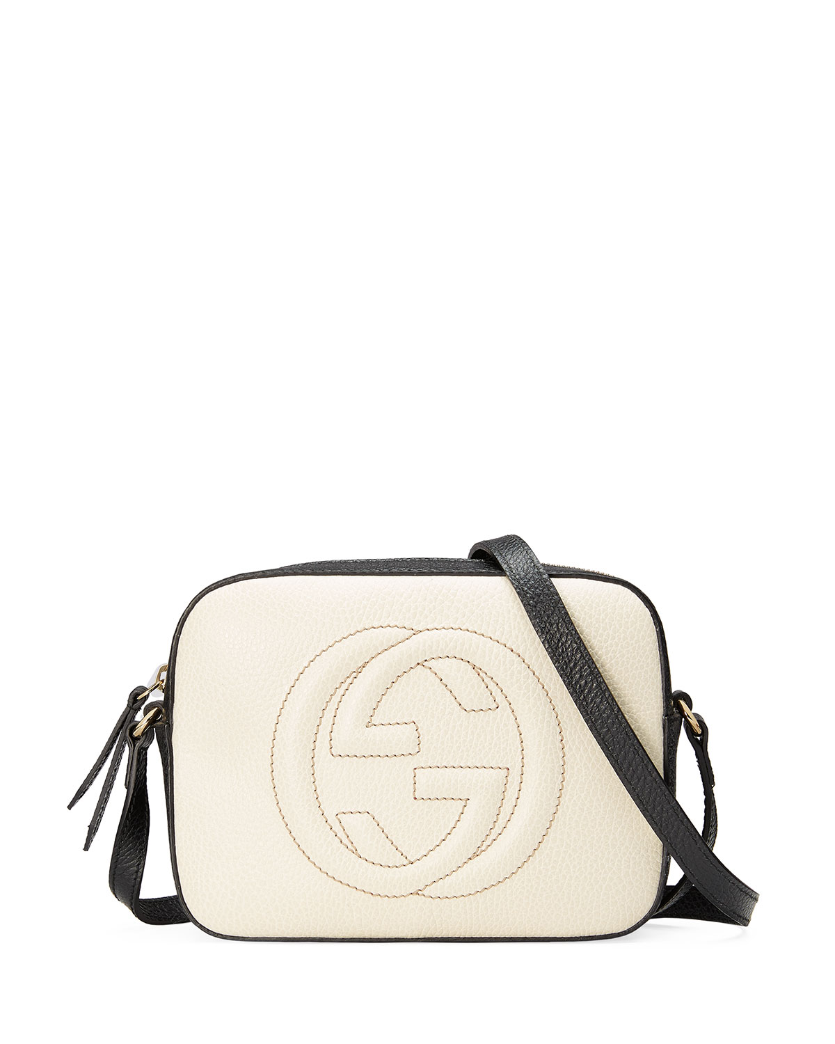 c7c6c3e7f59a5e Gucci GG Zip-Top Small Camera Disco Bag, White/Black | Neiman Marcus