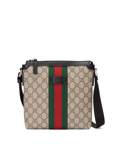 gucci gg supreme web small zip top crossbody bag light beige. Black Bedroom Furniture Sets. Home Design Ideas