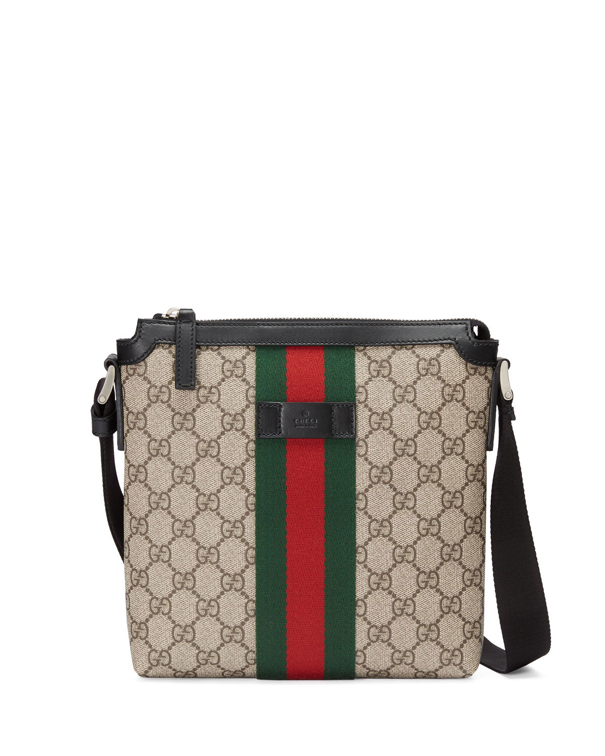 c67f888542ee Gucci GG Supreme Web Small Zip-Top Crossbody Bag, Light Beige ...