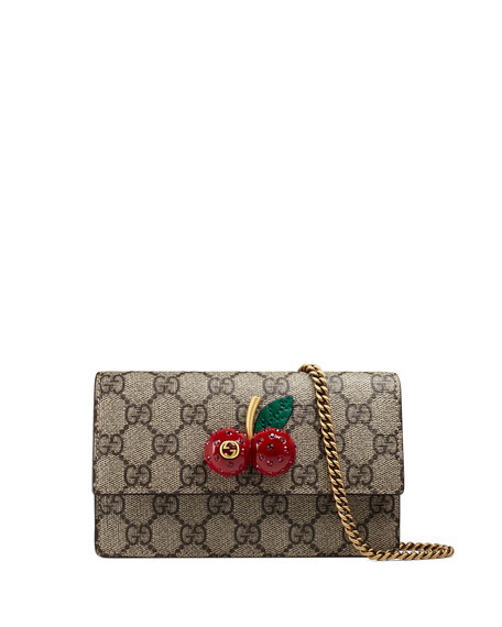 Gucci Mini GG Supreme w/ Cherry Shoulder Bag, Beige