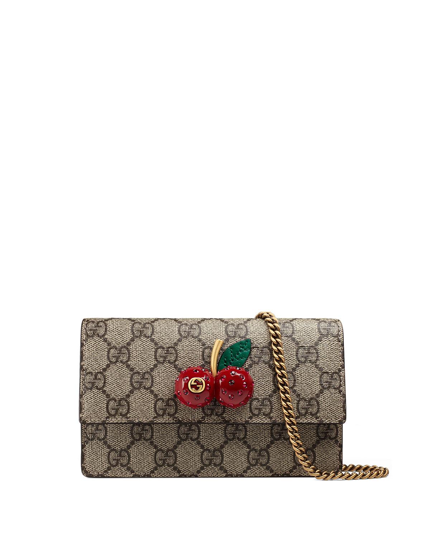 Gucci Mini Gg Supreme W Cherry Shoulder Bag Beige