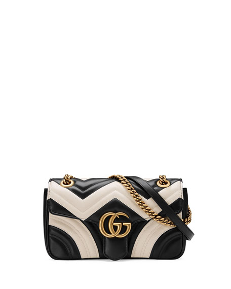 Gucci GG Marmont Small Quilted Shoulder Bag, Black/White