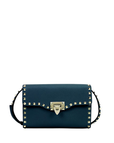 Rockstud Medium Leather Shoulder Bag, Blue