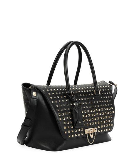 Demilune Medium Vitello Handle Bag, Black