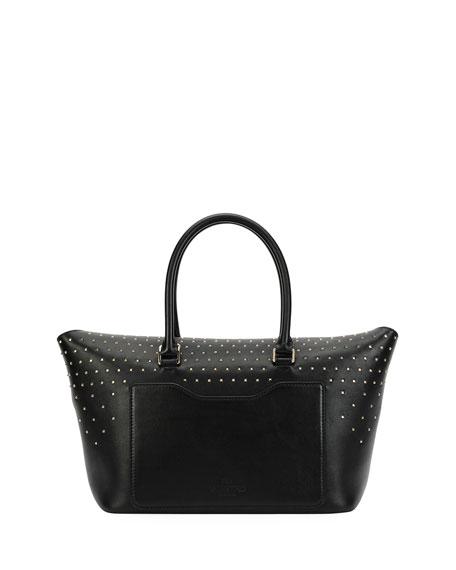 Valentino Garavani Demilune Medium Vitello Handle Bag, Black