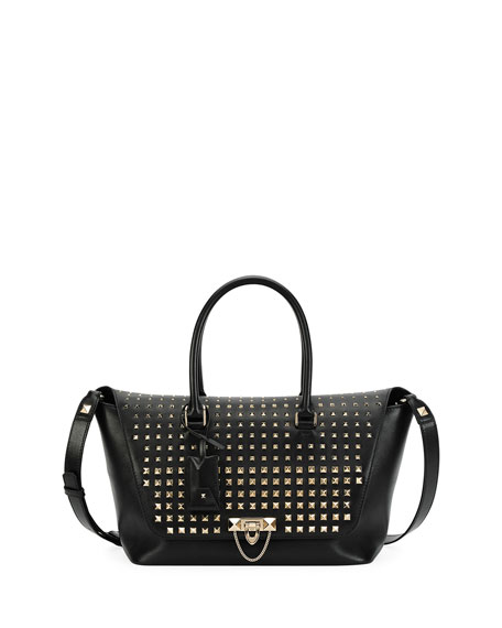 Valentino Garavani Demilune Medium Vitello Handle Bag, Black